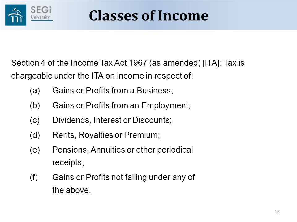 Section 4 F Income Tax Act 1967