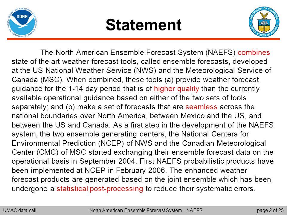 UMAC data callpage 1 of 25North American Ensemble Forecast