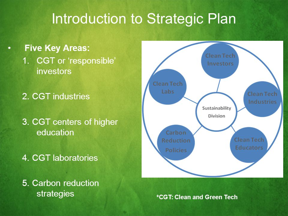 Introduction to Strategic Plan Five Key Areas: 1.CGT or 'responsible' investors 2.