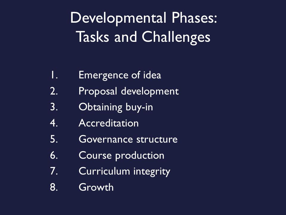 Developmental Phases: Tasks and Challenges 1.Emergence of idea 2.Proposal development 3.Obtaining buy-in 4.Accreditation 5.Governance structure 6.Course production 7.Curriculum integrity 8.Growth
