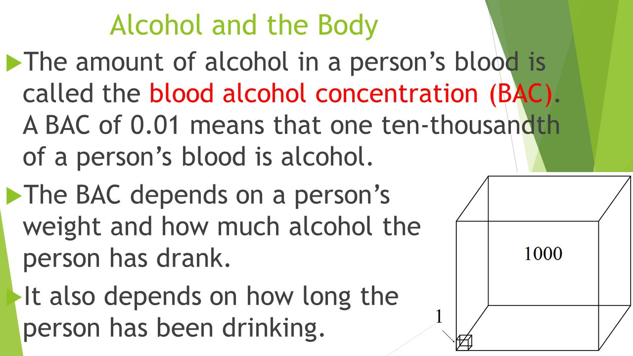 Alcohol and the Body  The amount of alcohol in a person's blood is called the blood alcohol concentration (BAC).