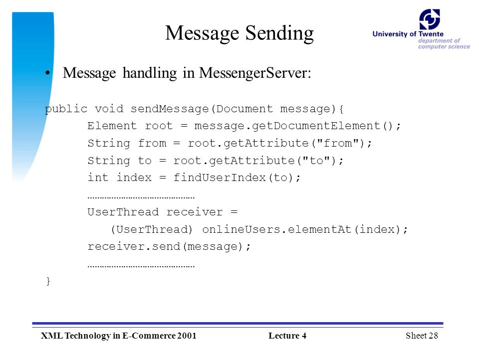 Sheet 1XML Technology in E-Commerce 2001Lecture 4 XML Technology in
