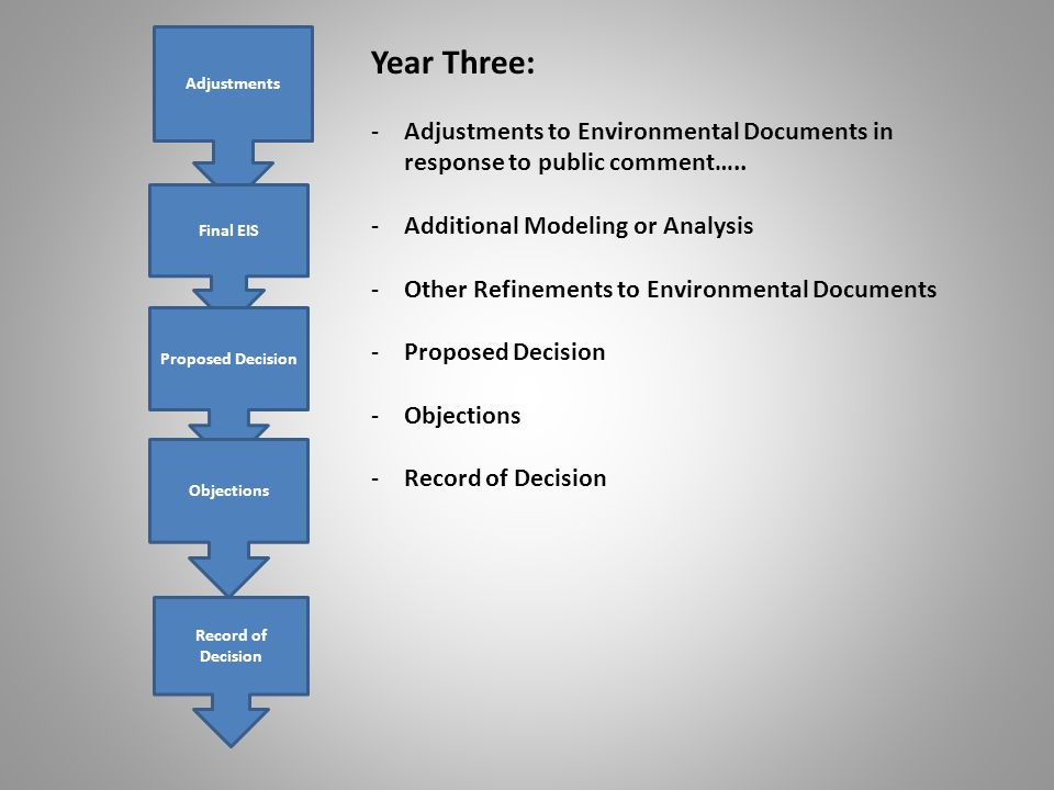 Adjustments Final EIS Proposed Decision Objections Record of Decision Year Three: -Adjustments to Environmental Documents in response to public comment…..