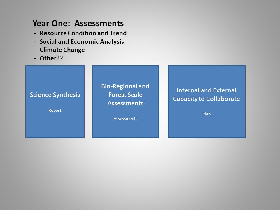 Science Synthesis Report Bio-Regional and Forest Scale Assessments Assessments Internal and External Capacity to Collaborate Plan Year One: Assessments - Resource Condition and Trend - Social and Economic Analysis - Climate Change - Other