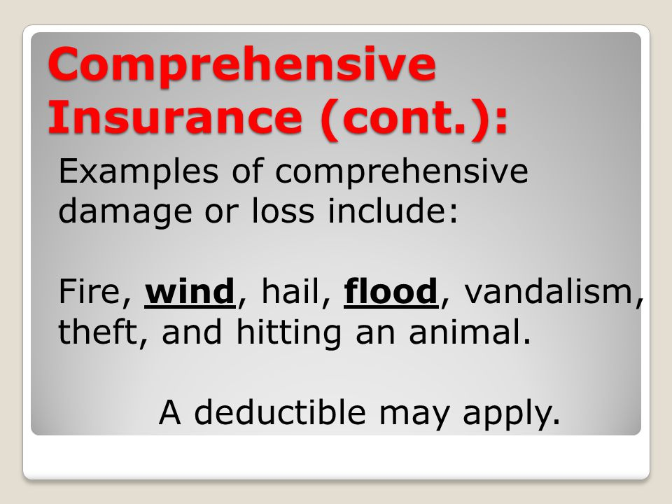 Comprehensive Insurance (cont.): Examples of comprehensive damage or loss include: Fire, wind, hail, flood, vandalism, theft, and hitting an animal.