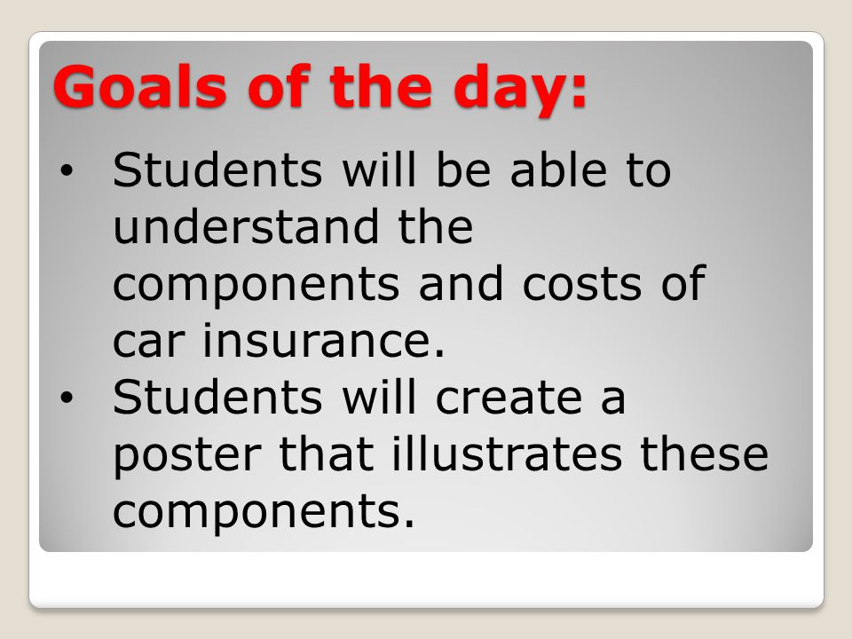 Goals of the day: Students will be able to understand the components and costs of car insurance.