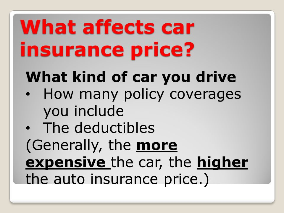What affects car insurance price.