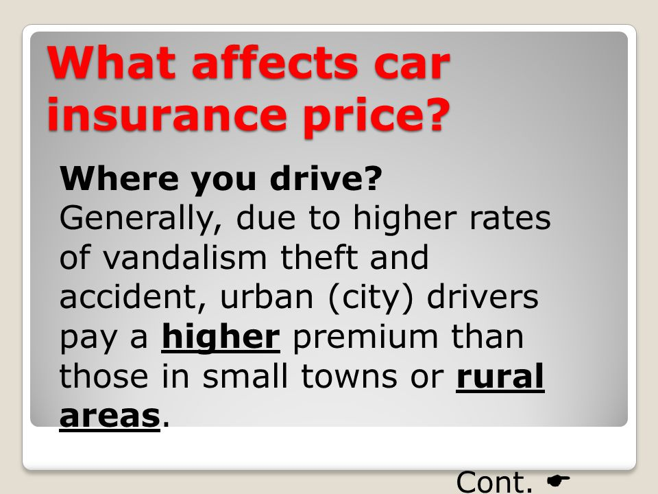What affects car insurance price. Where you drive.