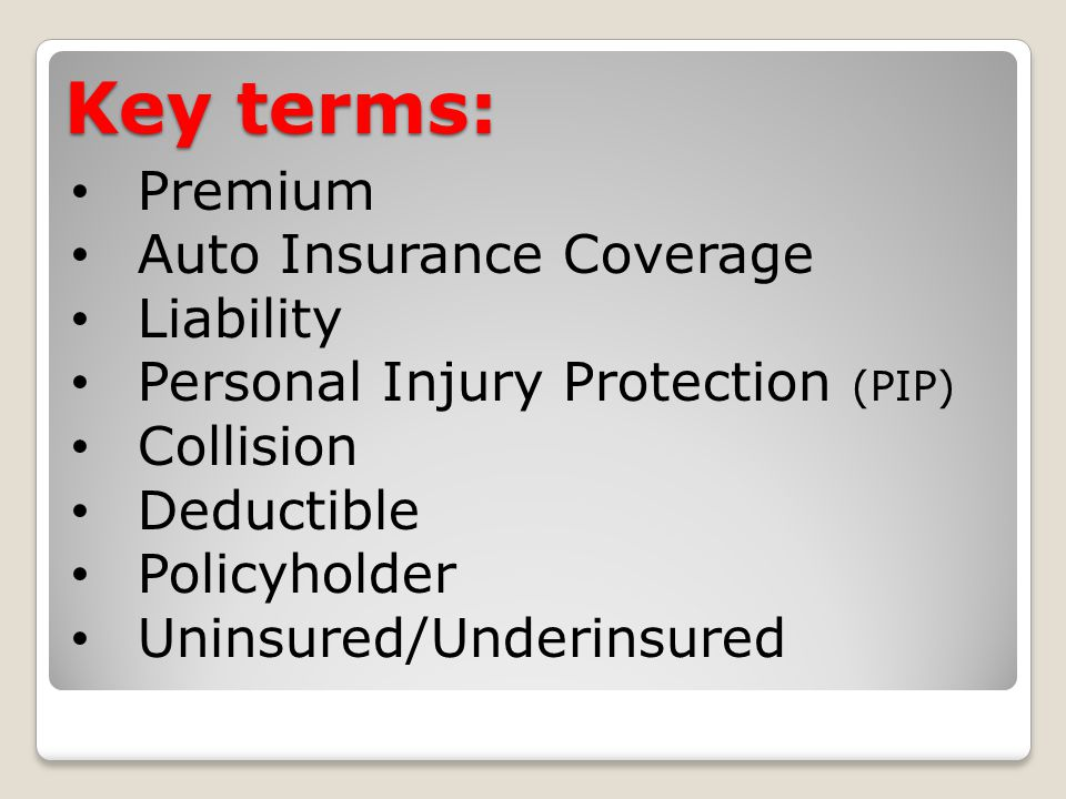 Key terms: Premium Auto Insurance Coverage Liability Personal Injury Protection (PIP) Collision Deductible Policyholder Uninsured/Underinsured