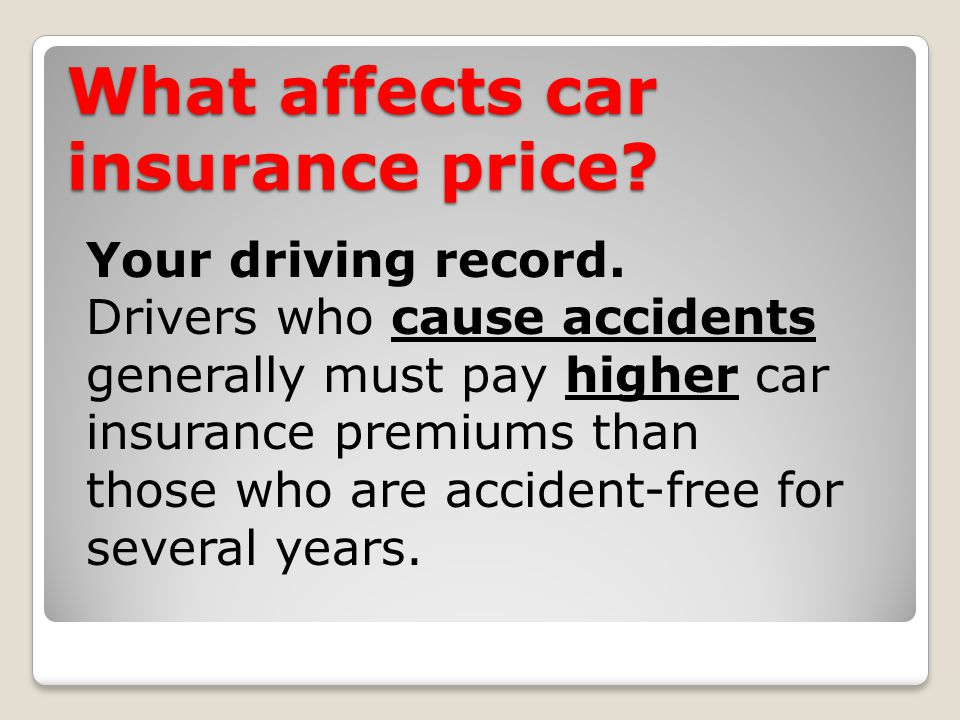 What affects car insurance price. Your driving record.