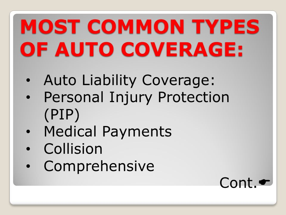 MOST COMMON TYPES OF AUTO COVERAGE: Auto Liability Coverage: Personal Injury Protection (PIP) Medical Payments Collision Comprehensive Cont.