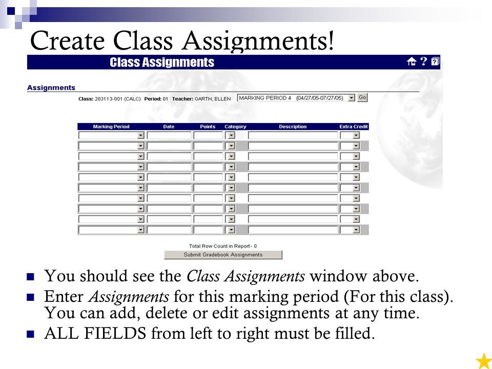 Create Class Assignments. You should see the Class Assignments window above.