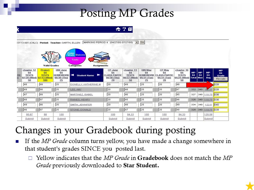 Posting MP Grades Changes in your Gradebook during posting If the MP Grade column turns yellow, you have made a change somewhere in that student's grades SINCE you posted last.