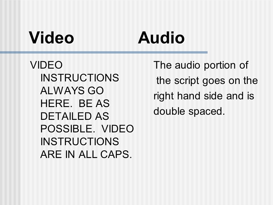 Video Audio VIDEO INSTRUCTIONS ALWAYS GO HERE. BE AS DETAILED AS POSSIBLE.