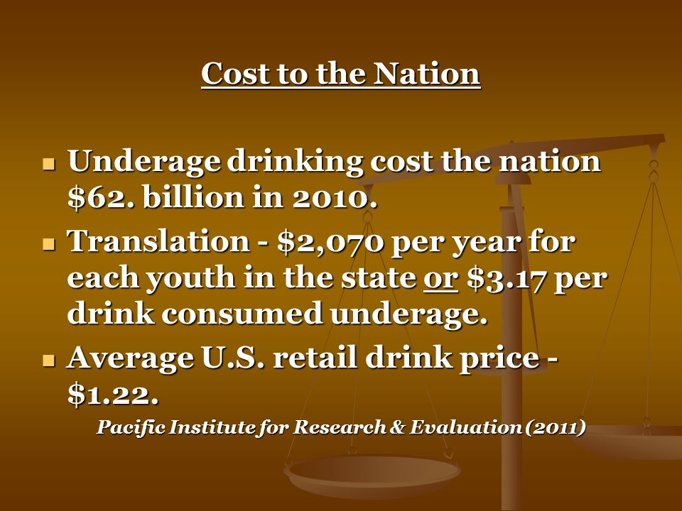 Cost to the Nation Underage drinking cost the nation $62.