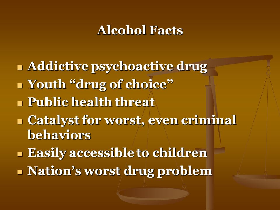 Alcohol Facts Addictive psychoactive drug Addictive psychoactive drug Youth drug of choice Youth drug of choice Public health threat Public health threat Catalyst for worst, even criminal behaviors Catalyst for worst, even criminal behaviors Easily accessible to children Easily accessible to children Nation's worst drug problem Nation's worst drug problem