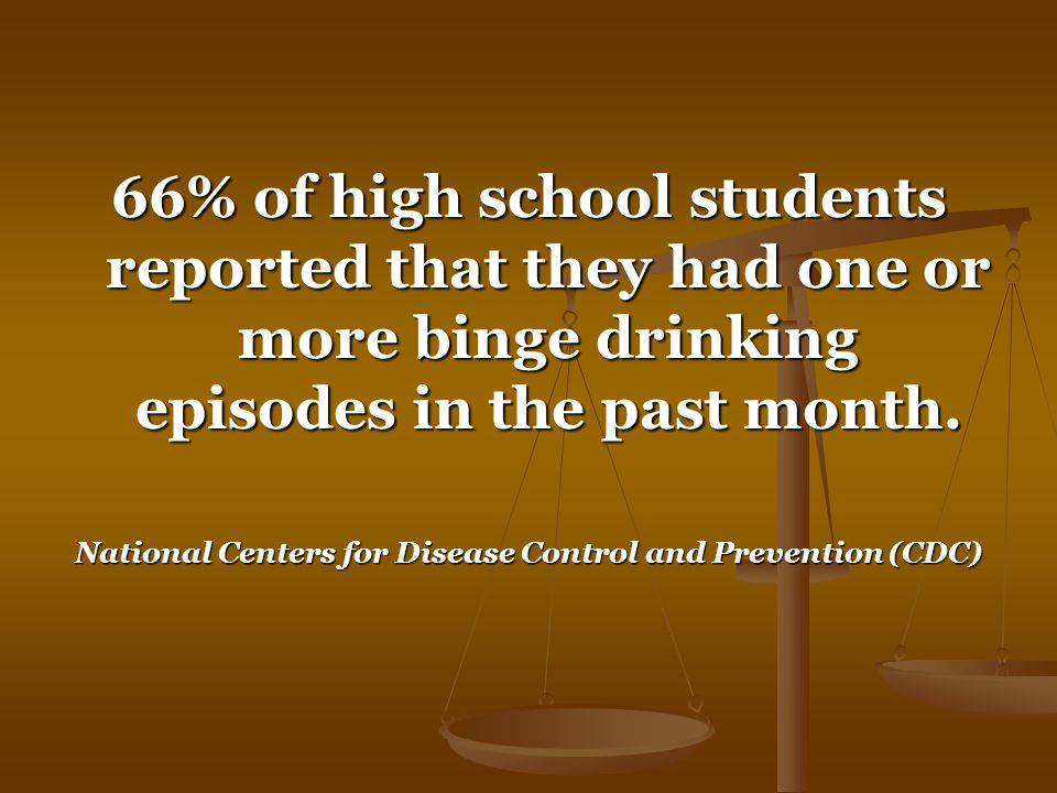 66% of high school students reported that they had one or more binge drinking episodes in the past month.