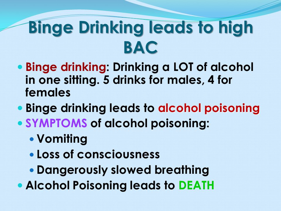 Binge Drinking leads to high BAC Binge drinking: Drinking a LOT of alcohol in one sitting.