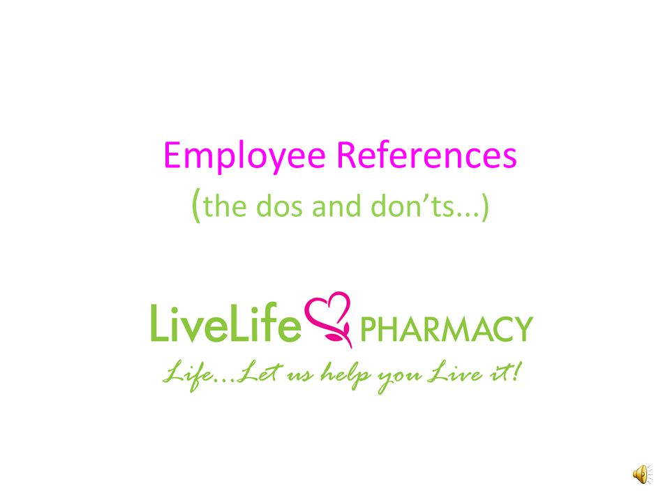 employee references the dos and don ts written references