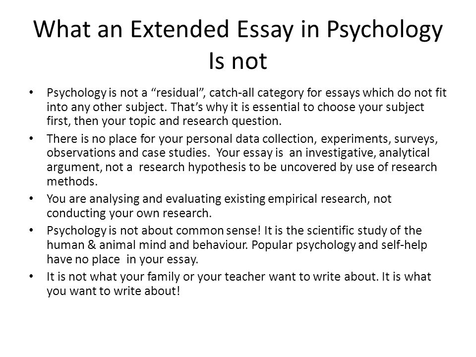ib psychology extended essay topics