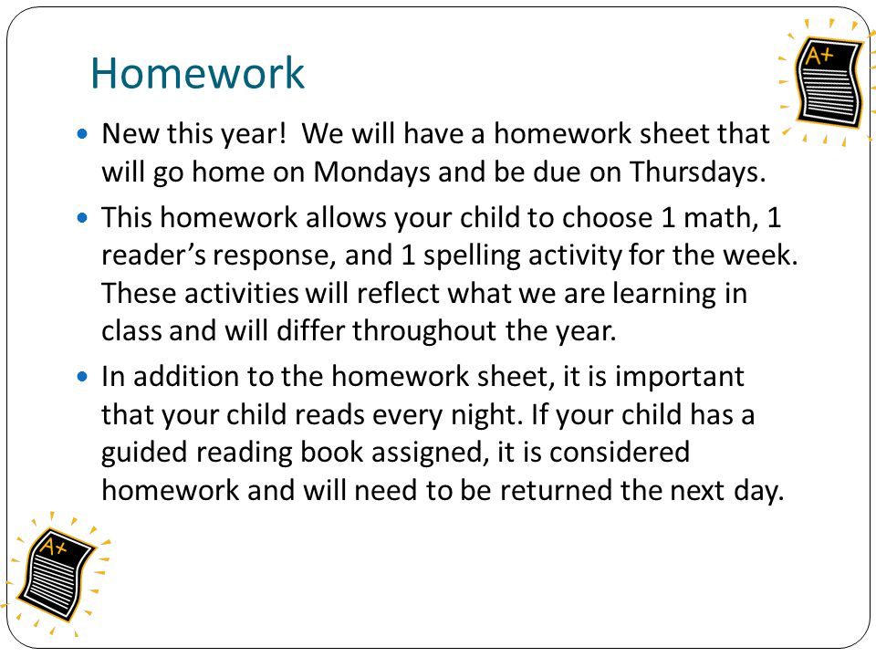 Homework New this year.