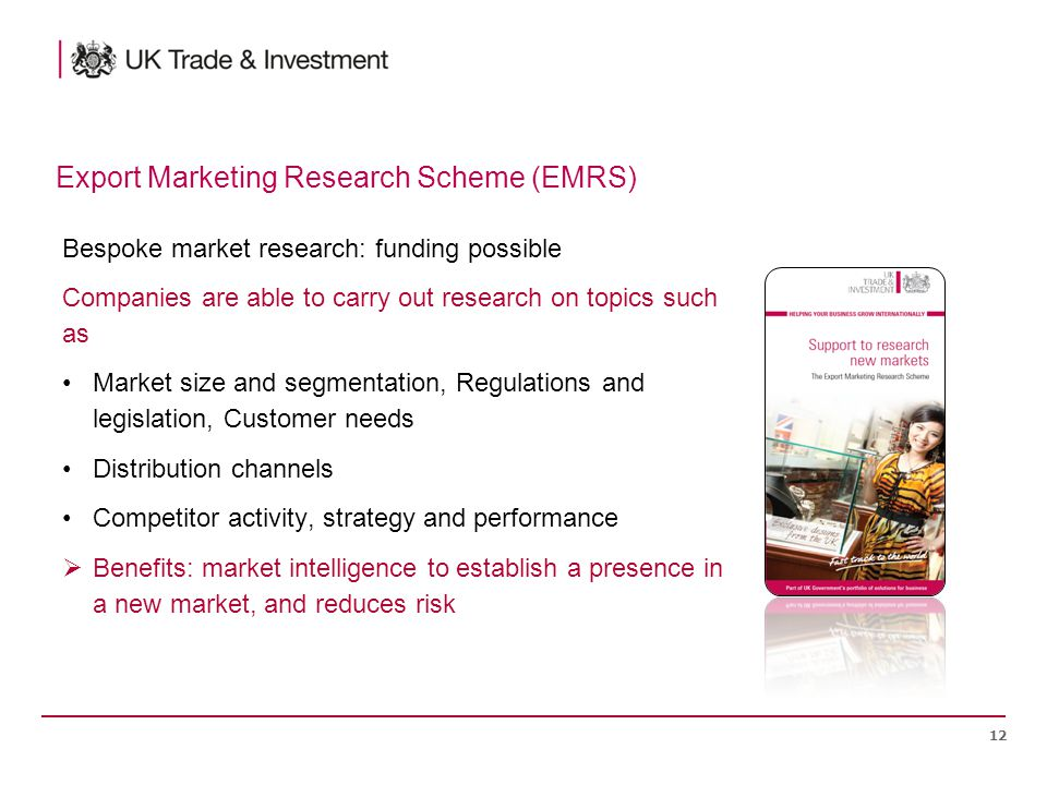 Bespoke market research: funding possible Companies are able to carry out research on topics such as Market size and segmentation, Regulations and legislation, Customer needs Distribution channels Competitor activity, strategy and performance  Benefits: market intelligence to establish a presence in a new market, and reduces risk 12 Export Marketing Research Scheme (EMRS)