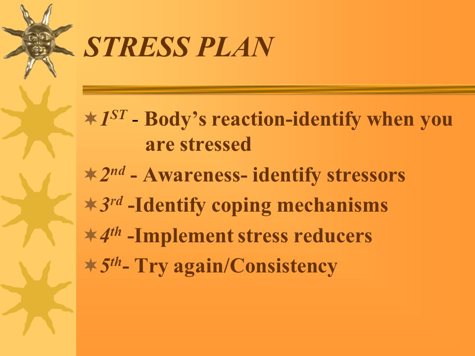 STRESS PLAN  1 ST - Body's reaction-identify when you are stressed  2 nd - Awareness- identify stressors  3 rd -Identify coping mechanisms  4 th -Implement stress reducers  5 th - Try again/Consistency