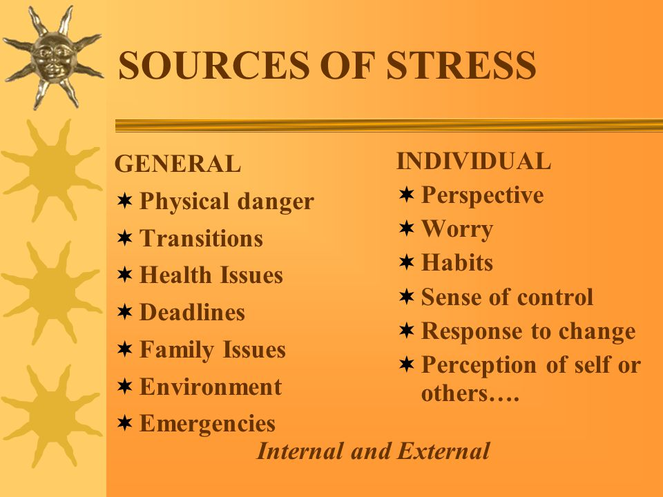 SOURCES OF STRESS INDIVIDUAL  Perspective  Worry  Habits  Sense of control  Response to change  Perception of self or others….