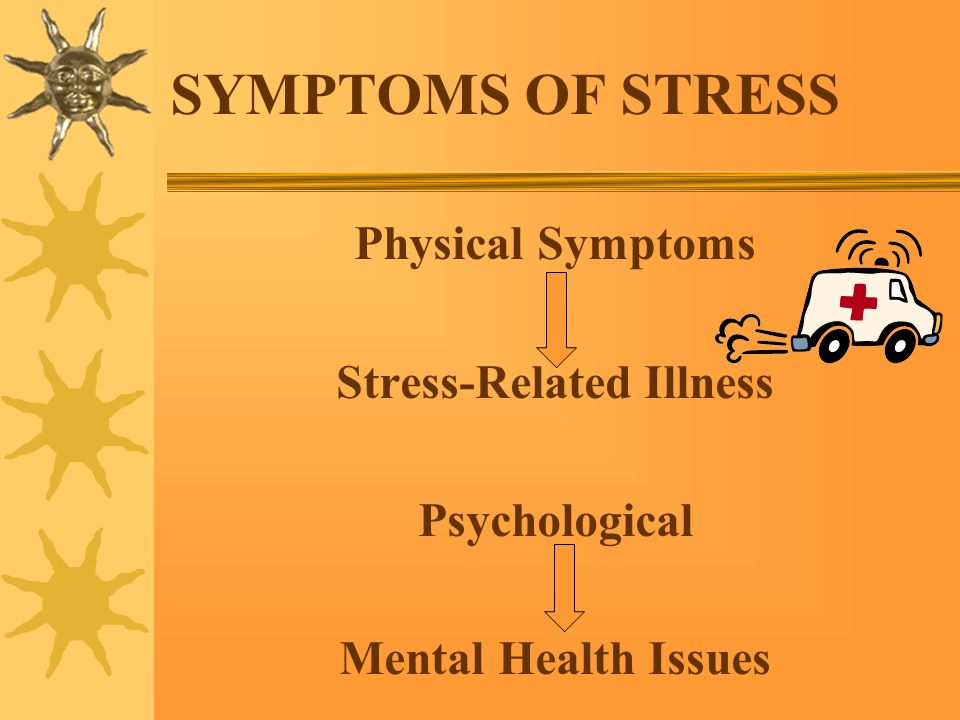 SYMPTOMS OF STRESS Physical Symptoms Stress-Related Illness Psychological Mental Health Issues