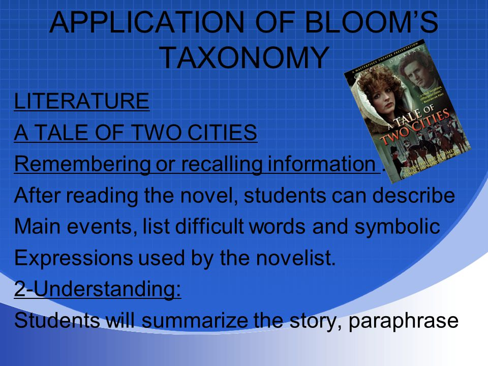APPLICATION OF BLOOM'S TAXONOMY LITERATURE A TALE OF TWO CITIES Remembering or recalling information : After reading the novel, students can describe Main events, list difficult words and symbolic Expressions used by the novelist.