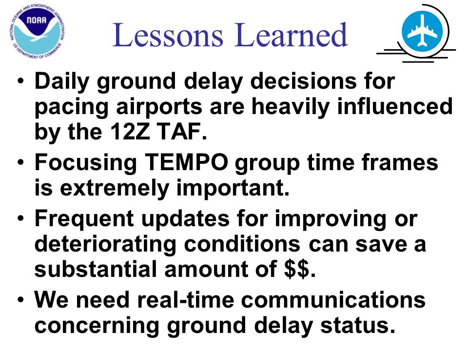 Lessons Learned Daily ground delay decisions for pacing airports are heavily influenced by the 12Z TAF.