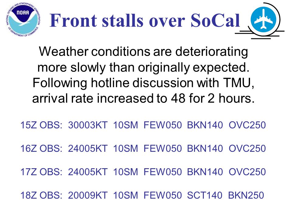 Front stalls over SoCal Weather conditions are deteriorating more slowly than originally expected.