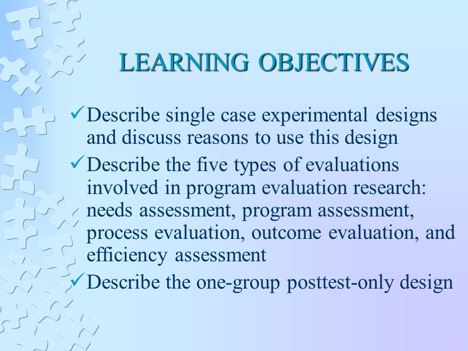 LEARNING OBJECTIVES Describe single case experimental designs and discuss reasons to use this design Describe the five types of evaluations involved in program evaluation research: needs assessment, program assessment, process evaluation, outcome evaluation, and efficiency assessment Describe the one-group posttest-only design
