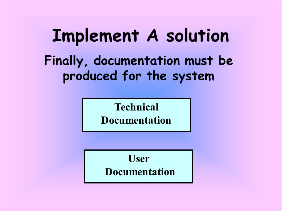 Implement A solution Finally, documentation must be produced for the system Technical Documentation User Documentation