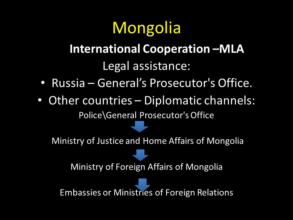 Mongolia International Cooperation –MLA Legal assistance: Russia – General's Prosecutor s Office.