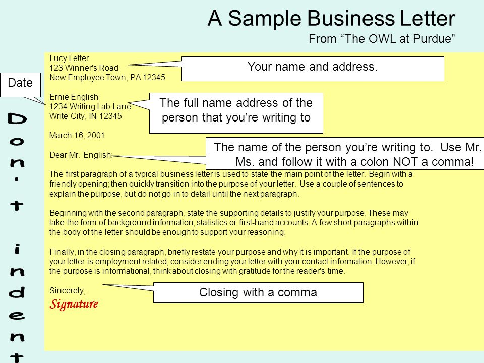 How To Write A Business Letter 6 Parts Of A Business Letter Name