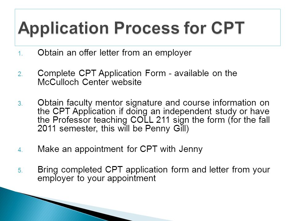 Cpt or curricular practical training is an off campus employment 4 obtain an offer letter altavistaventures Choice Image