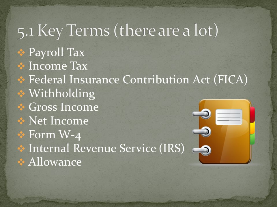  Payroll Tax  Income Tax  Federal Insurance Contribution Act (FICA)  Withholding  Gross Income  Net Income  Form W-4  Internal Revenue Service (IRS)  Allowance
