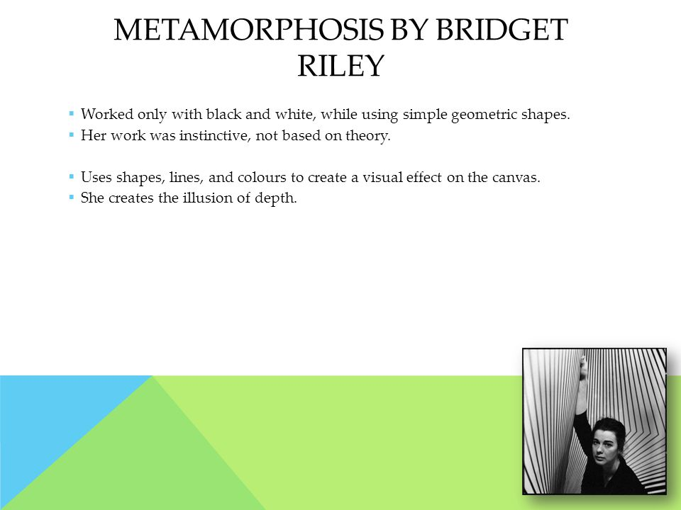 METAMORPHOSIS BY BRIDGET RILEY  Worked only with black and white, while using simple geometric shapes.