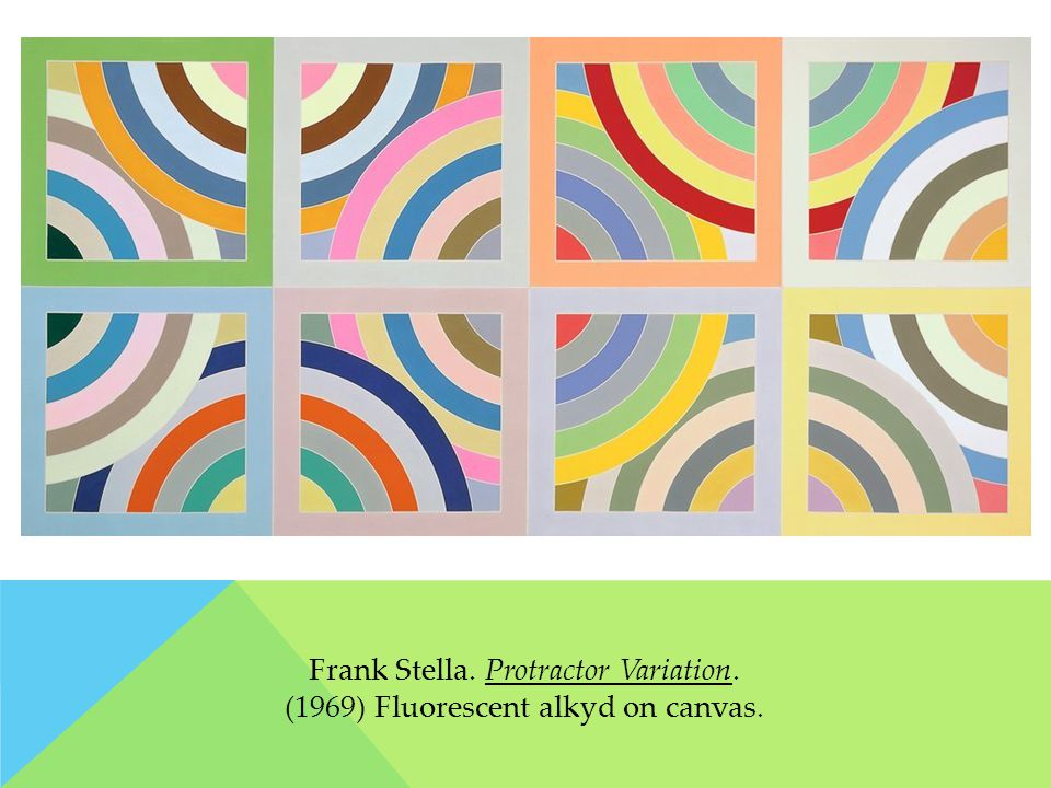 Frank Stella. Protractor Variation. (1969) Fluorescent alkyd on canvas.