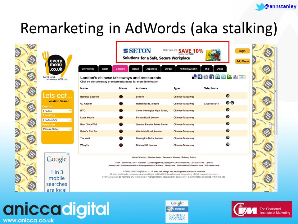 @annstanley Remarketing in AdWords (aka stalking)