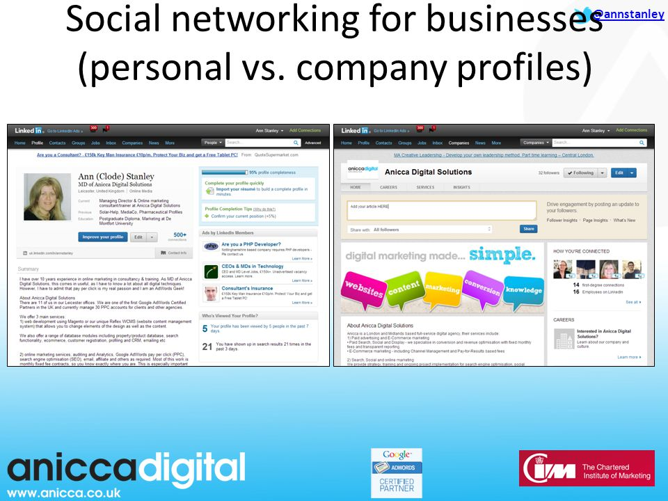 @annstanley Social networking for businesses (personal vs. company profiles)