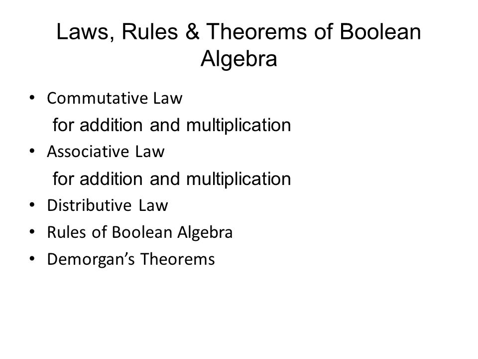 Laws, Rules & Theorems of Boolean Algebra Commutative Law for addition and multiplication Associative Law for addition and multiplication Distributive Law Rules of Boolean Algebra Demorgan's Theorems