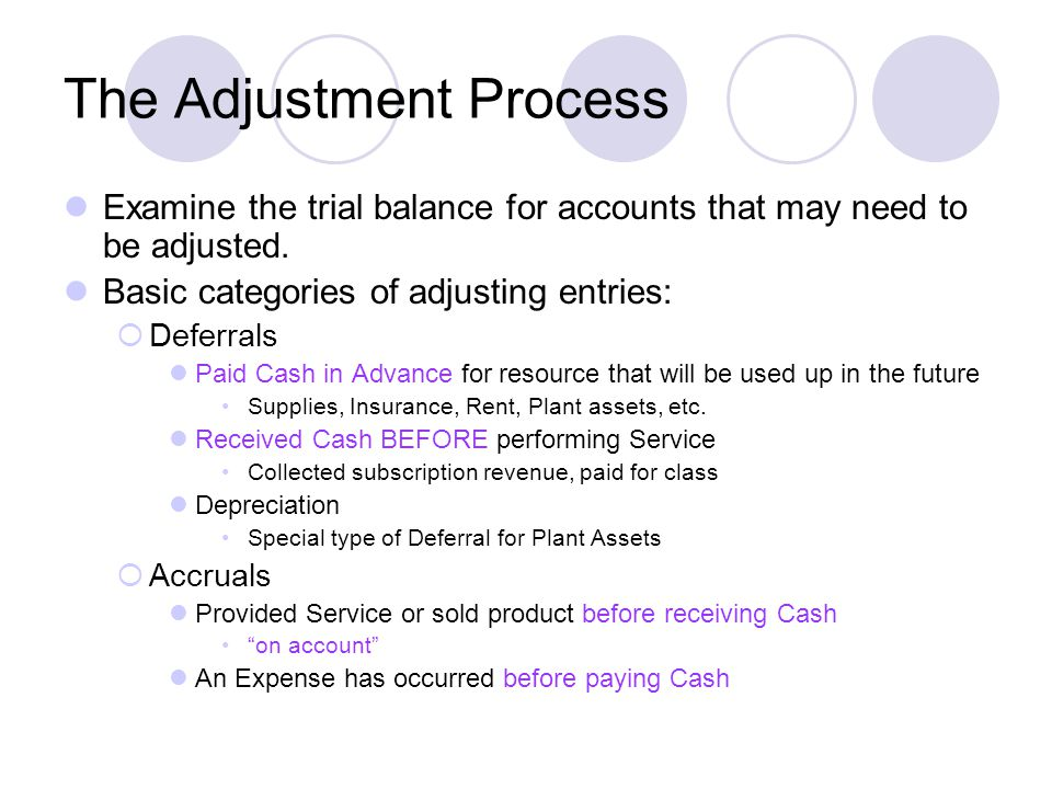 The Adjustment Process Examine the trial balance for accounts that may need to be adjusted.