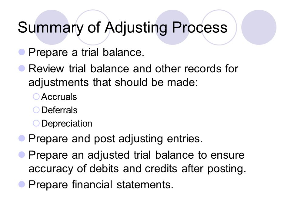 Summary of Adjusting Process Prepare a trial balance.