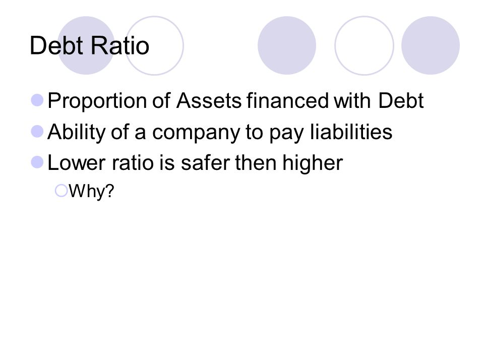 Debt Ratio Proportion of Assets financed with Debt Ability of a company to pay liabilities Lower ratio is safer then higher  Why