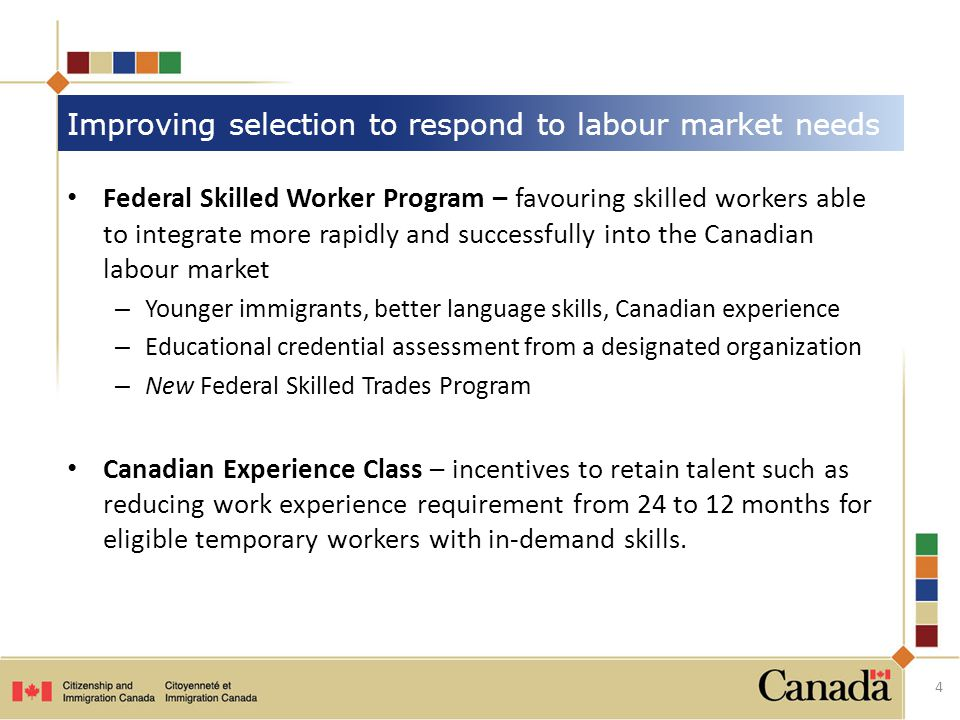 Federal Skilled Worker Program – favouring skilled workers able to integrate more rapidly and successfully into the Canadian labour market – Younger immigrants, better language skills, Canadian experience – Educational credential assessment from a designated organization – New Federal Skilled Trades Program Canadian Experience Class – incentives to retain talent such as reducing work experience requirement from 24 to 12 months for eligible temporary workers with in-demand skills.