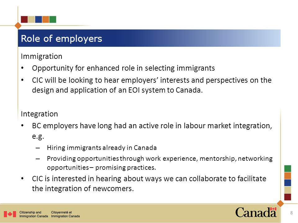 Immigration Opportunity for enhanced role in selecting immigrants CIC will be looking to hear employers' interests and perspectives on the design and application of an EOI system to Canada.