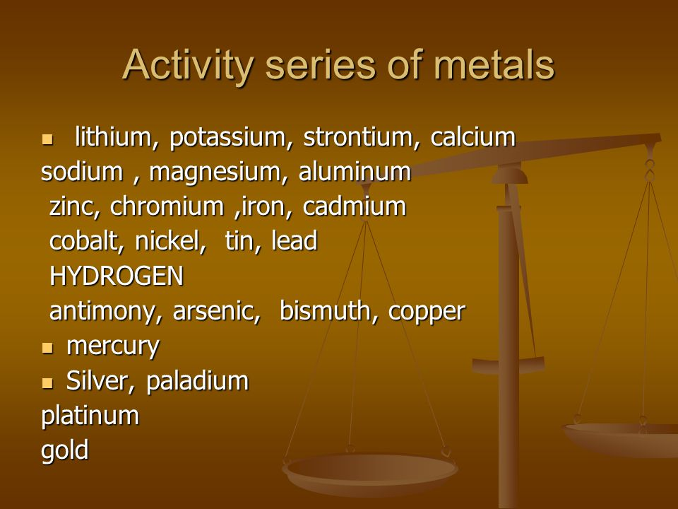 Activity series of metals lithium, potassium, strontium, calcium lithium, potassium, strontium, calcium sodium, magnesium, aluminum zinc, chromium,iron, cadmium zinc, chromium,iron, cadmium cobalt, nickel, tin, lead cobalt, nickel, tin, lead HYDROGEN HYDROGEN antimony, arsenic, bismuth, copper antimony, arsenic, bismuth, copper mercury mercury Silver, paladium Silver, paladiumplatinumgold