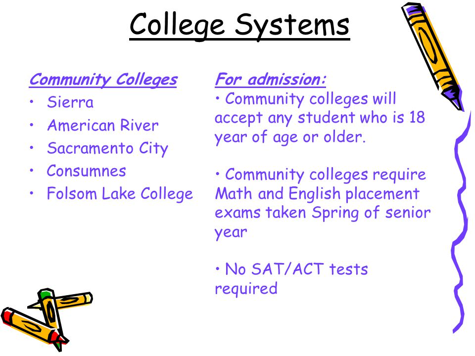 College Systems Community Colleges Sierra American River Sacramento City Consumnes Folsom Lake College For admission: Community colleges will accept any student who is 18 year of age or older.